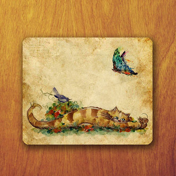 Tiger Bird Mouse and Butterfly Painting on Old Paper Pattern Mouse PAD Mousepad Abstract Accessory For Desk Office Teacher Gift