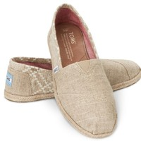 TOMS Hemp Embroidered Women's Classics Slip-On Shoes,