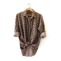 Vintage buffalo check shirt. slouchy checkered flannel. boyfriend flannel. Grunge shirt