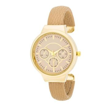 Reyna Gold Leather Cuff Watch - Beige and 3 more colors