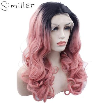 Similler Black Root Ombre Pink Long Curly Glueless Heat Resistant Hair Hand Tied Synthetic Lace Front Wigs For Women Present