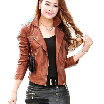 ENJOY PLUS 8%OFF chest 84-108cm S - 4XL 2016 faux pu leather jacket women plus size brown black motorcycle jaqueta de couro lady