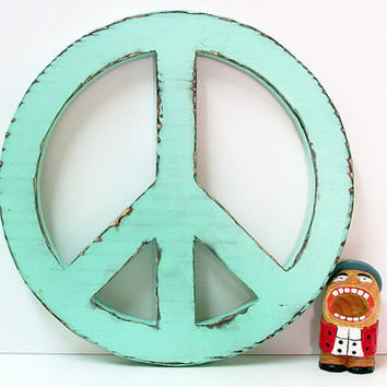 Peace Sign Pictured In Mint Pine Wood Wall Decor Rusti