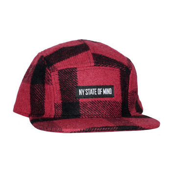Red & Black Lumberjack 5 Panel Hat