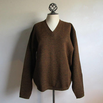 Vintage 1950s Squaw Valley Sweater Dark Brown Wool Tony Day Mens 50s Knit Jumper XL