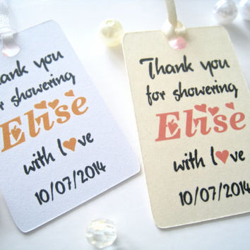 Bridal shower favor tags, thank you tags, party favor tags, bridal shower custom tags, bridal reception - 30 count