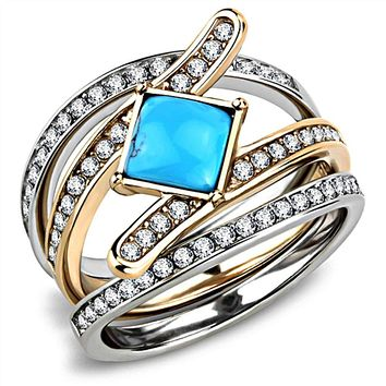 WildKlass Stainless Steel Ring Two-Tone IP Rose Gold Women Synthetic Sea Blue