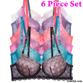 Buy1 Get 5 Free of Square tesellation pattern Lace overlay Removable straps Bra # 78131