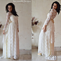 Ivory Lace Bohemian Wedding Dress Long Bridal Wedding Gown - Handmade by SuzannaM Designs