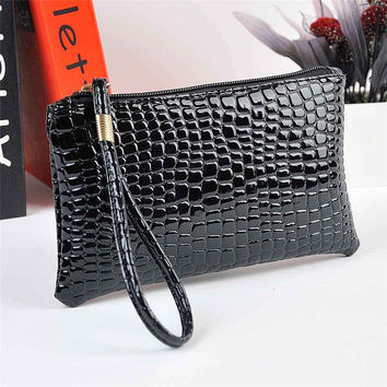 Zero Women Crocodile Leather Clutch Handbag Bag Coin Purse