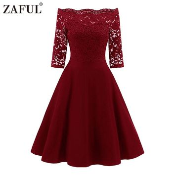 ZAFUL New Spring Lace Panel Women Dress Off The Shoulder Vintage Swing Dresses Elegant Solid Red Midi Party Dress Vestidos Mujer