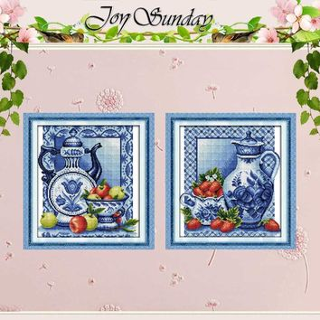 Cross Stitch kit Porcelain and Strawberry Patterns Counted Cross Stitch 11 14CT