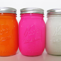 Pink, Orange, and White Painted Mason Jars