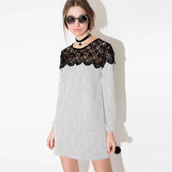 Stripe Cutout Lace Long-Sleeve Shift Dress