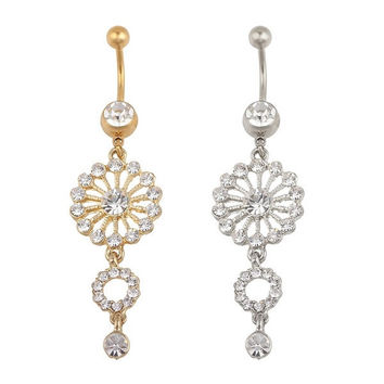 Fashion Beauty Gold Silver Round Crystal Rhinestone Dangle Button Bar Navel Belly Ring Jewelry [9791257743]