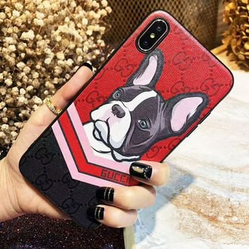 GUCCI New Fashionable Cute Dog Pattern Mobile Phone Cover Case For iphone 6 6s 6plus 6s-plus 7 7plus 8 8plus X XsMax XR Red
