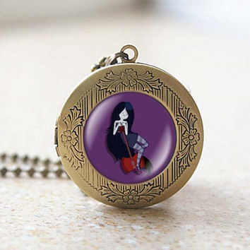 Marceline vampire guitar princess adventure time vintage pendant locket necklace - ready for gifting