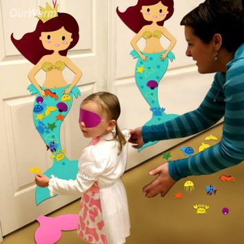 OurWarm Hawaiian Party Game Pin the Tail on the Mermaid Birthday Party Decorations Kids Educational Toys for Children Room Decor