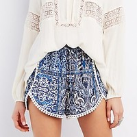 CROCHET-TRIM PRINTED SHORTS