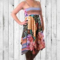 Eco Upcycled Sundress, OOAK, ON SALE-20% OFF! Bandana Style Hippie Dress, Reversible!