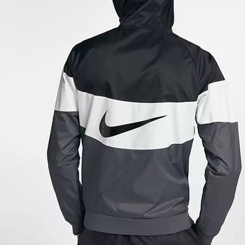 NIKE Fasion Contrast  V Type Windrunner Sports Jacket Black/White/Grey