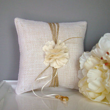 Ring Bearer Pillow, White, Burlap, Rustic, Ring Pillow, Ring Bearer, Spring, Winter, Outdoor, Country, Cottage, Garden Wedding, Bridal