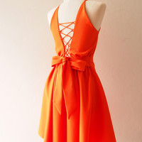 Tangerine Party Dress Orange Evening Dress Prom Homecoming Dress La La Land Dress Swing Skirt Dancing Dress Cross Rope Low Back Dress