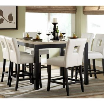 Homelegance Archstone 7 Piece Counter Height Dining Room Set w/ White Chairs