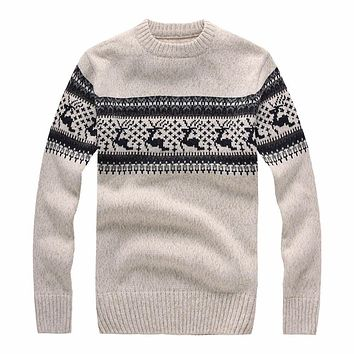New Autumn Winter Fashion Brand Clothing Men's Sweaters with Deer Slim Fit Men Pullover Knitted Sweater