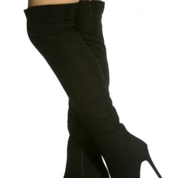 Black Faux Suede Pointed Toe Knee High Boots @ Cicihot Boots Catalog:women's winter boots,leather thigh high boots,black platform knee high boots,over the knee boots,Go Go boots,cowgirl boots,gladiator boots,womens dress boots,skirt boots.