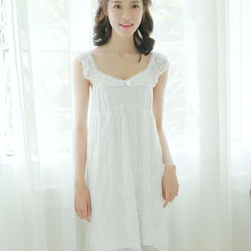 Women Sexy condole female sweet princess summer cotton bud silk nightgown sunflower Korea Style leisurewear nightgown