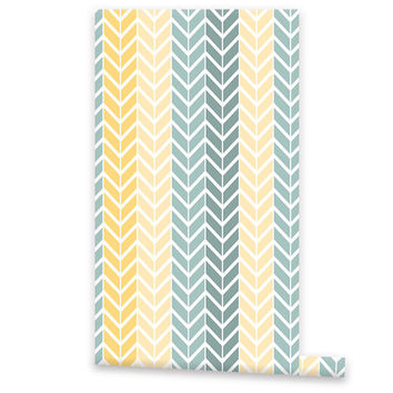 Colorful Chevron Pattern WALLPAPER Removable Vinyl Wallpaper Wall Decal Peel Stick