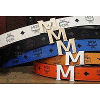 MCM Woman Fashion Smooth Buckle Belt Leather Belt F-A-GFPDPF