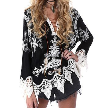 Lace Up Blouse Women Fashion Deep V-Neck Hollow Out Crochet Lace Floral Patchwork Embroidery Shirt Boho Style Women Blouses