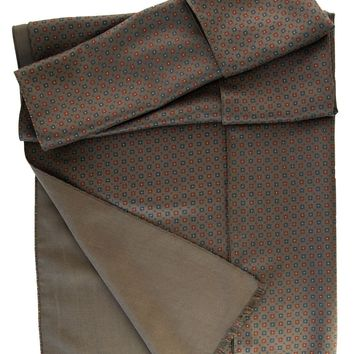 Firenze-Double Face Heavy Weight Silk Scarf-Dark Olive