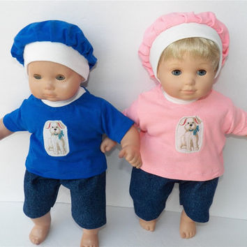 """American Girl Bitty Baby TWINS Clothes 15"""" Doll Clothes  Boy&Girl  Blue Pink Puppy Dog Outfits 6pc Denim Shorts capris, T-shirts, hats"""
