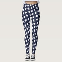 White Stars Pattern Blue Fashion Leggings