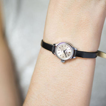 Very small watch for women, micro watch silver shade retro, petite lady watch gift, classic tiny watch Seagull, new premium leather strap