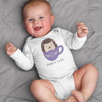 Hedgy Cute Hedgehog Baby Bodysuit Romper One Piece for Baby Boy or Baby Girl Long or Short Sleeve 3, 6, 9, 12 Months