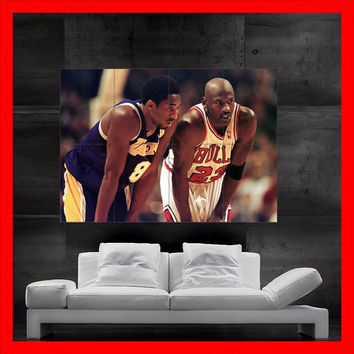 Kobe Bryant vs Michael Jordan WINGS MOSAIC BASKETBALL Legend Chicago Bulls Huge mega poster Cool artwork for house decorating