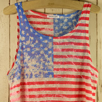 Multi Print Top - Retro American Flag Dyed Top | UsTrendy