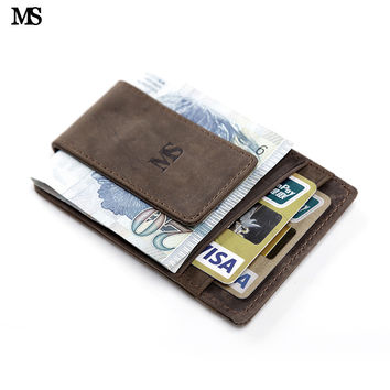 MS Hot Sale Men Genuine Leather Wallet Business Casual Credit Card ID Holder With Strong Magnet Money Clip Brown K308