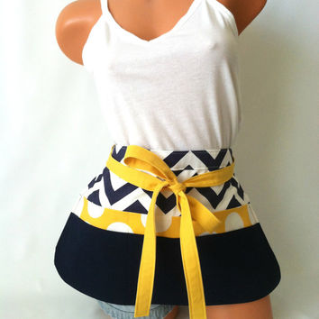 Chevron Polka Dot Teacher Apron - Yellow Navy Blue Apron, Polka Dot Apron, Nautical Apron, Teacher Toolbelt, Canvas Apron, Fun Teacher Apron