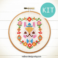Funny Cross Stitch KIT Funny  DIY gift  -Mr Bunny Floral Portrait - Spring Celebrations Happy Kawaii  Woodland Rabbit Love DIY gift