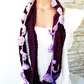 Crochet Circle  Scarf -  Womens Scarf -   Necklace Scarf  - Chain Scarf - Floral   Batic Yarn   Winter accessories  Mothers Day