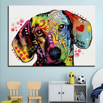 Large size Print Oil Painting Wall painting dachshund
