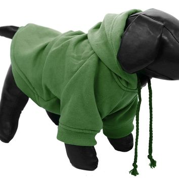 Fashion Plush Cotton Pet Pet Hoodie Hooded Sweater  - Mint Green: X-Small