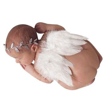 CREYWQA Baby Newborn Photography Props Accessories Baby Girls Angel Feather Wings Feather Baby Newborn Photo Props Newborn Fotografia