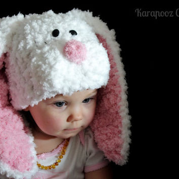Toddler Bunny hat with floppy ears crochet,easter bunny,made to order for a boy or girl or in neutral calor