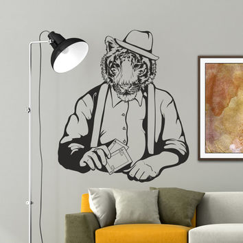 Interior Wall Decal Vinyl Sticker Art Decor Tiger hat card game graffiti cartoon strips animal game Living Room Modern Gift Bedroom (i154)